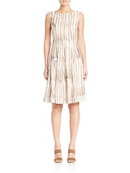 Lafayette 148 New York Madison Striped Zoe Dress Raffia Multicolor