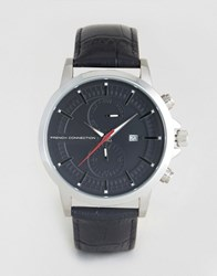 French Connection Mens Black Croc Leather Strap Black Embossed Multi Functional Dial Black