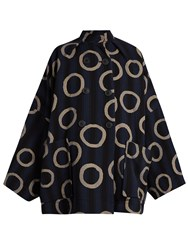 Vivienne Westwood Joan Ring And Stripe Print Cotton Blend Coat Blue Multi