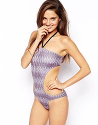 Asos Knitted Chevron Cut Out Bandeau Swimsuit