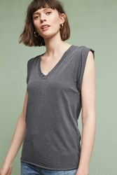 Anthropologie Rolled V Neck Top Dark Grey