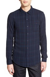 Men's Velvet By Graham And Spencer 'Abel' Trim Fit Long Sleeve Plaid Sport Shirt Midnight Blue