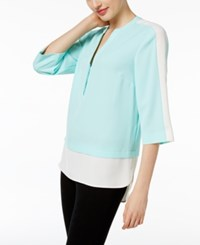 Calvin Klein Colorblocked Layered Look Tunic Sea Glass