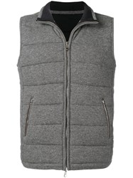 N.Peal Quilted Zipped Gilet Grey
