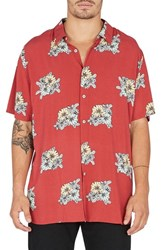 Barney Cools Holiday Woven Shirt Red Floral