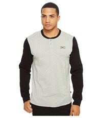 Huf Clubber Henley Black Grey Heather Men's Clothing Gray