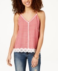 Almost Famous Juniors' Gingham Crochet Tank Top Red White Gingham