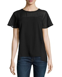 Neiman Marcus Mixed Media Dobby Georgette Blouse Black