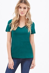 Forever 21 Favorite V Neck Tee Hunter Green