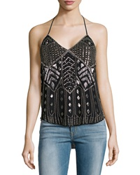 Haute Hippie Scarface Beaded Silk Halter Top