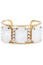 Elizabeth Cole 24 Karat Gold Plated Stone And Faux Pearl Cuff White