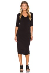 Michael Stars 3 4 Sleeve V Neck Midi Dress Black