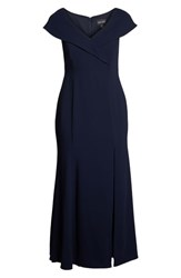 Xscape Evenings Plus Size Foldover V Neck Gown Navy