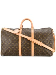 Louis Vuitton Vintage Keepall Monogram Tote Brown