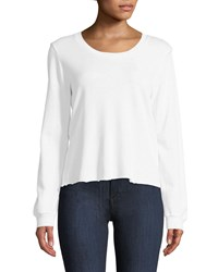 Lanston Corset Back Long Sleeve Pullover Top White