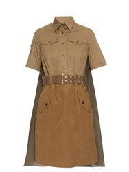Kolor Drape Back Belted Cotton Dress Khaki