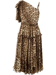 Dolce And Gabbana Leopard Print Shift Dress Women Silk Cotton Polyamide Spandex Elastane 42 Brown