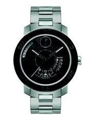 Movado Bold Stainless Steel Bracelet Watch Black Silver