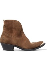 Golden Goose Deluxe Brand Young Embellished Embroidered Suede Ankle Boots Brown