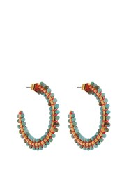 Isabel Marant Many Men Beaded Hoop Earrings Blue Multi