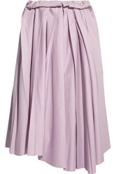 Marni Pleated Cotton Midi Skirt Lilac