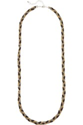 Kenneth Jay Lane Braided Gold Silver And Gunmetal Plated Necklace Metallic