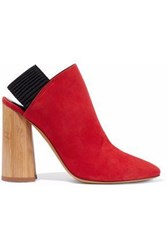 3.1 Phillip Lim Drum Suede Slingback Ankle Boots Tomato Red