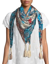 Johnny Was Augustina Striped Pattern Fringe Scarf Multi