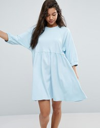 Asos Cotton Smock Dress With Elastic Cuff Detail Baby Blue