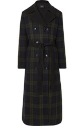 Akris Elea Convertible Checked Wool And Quilted Silk Down Coat Green