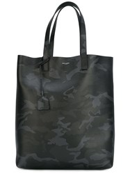 Saint Laurent Camouflage Print Shopping Tote Black