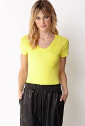 Forever 21 Essential V Neck Tee Neon Yellow