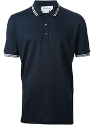 Salvatore Ferragamo Contrast Trim Polo Shirt Blue