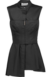 Jason Wu Layered Corset Effect Cotton Twill Peplum Top Black