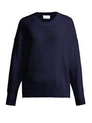 Allude Curved Hem Knitted Cashmere Sweater Navy
