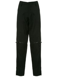Yohji Yamamoto Knee Cross Zip Slim Trousers Black