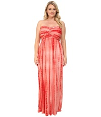Culture Phit Plus Size Liliana Maxi Dress Fresh Coral Tie Dye Women's Dress Orange