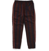 Bottega Veneta Tapered Striped Satin Trousers Navy