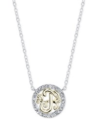Unwritten Initial 'T' Pendant Necklace With Crystal Pave Circle In Sterling Silver And Gold Flash Two Tone