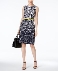 Connected Petite Belted Graphic Print Sheath Dress White Navy