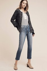 Anthropologie 7 For All Mankind Mid Rise Straight Ankle Jeans Denim Medium Blue