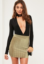 Missguided Petite Exclusive Khaki Velvet Pleated Mini Skirt