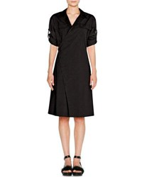 Tomas Maier Sporty Poplin Wrap Dress Black