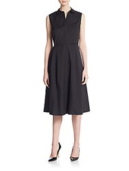 Lafayette 148 New York Bronte Stretch Cotton Shirtdress Black