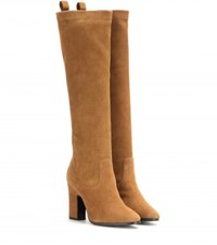 Pierre Hardy Suede Knee High Boots Brown