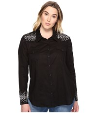 Stetson Plus Size Solid Lawn Black Long Sleeve Western Shirt Black Women's Clothing
