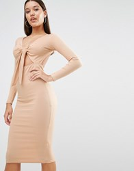 Oh My Love Midi Dress In Rib With Front Bow Caramel Brown