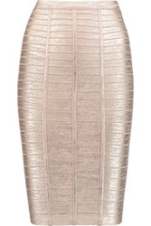 Herve Leger Metallic Bandage Pencil Skirt Rose Gold
