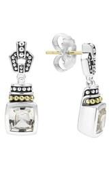 Lagos Women's 'Caviar Color' Square Semiprecious Stone Drop Earrings White Topaz