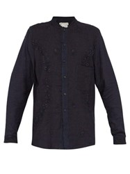 By Walid Tarek 1920S Floral Embroidered Linen Shirt Indigo